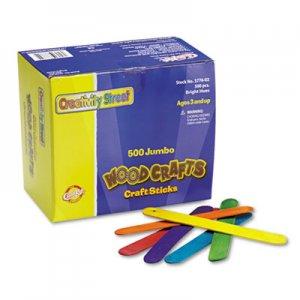 "Creativity Street Colored Wood Craft Sticks, Jumbo, 6"" x 0.75"", Wood, Assorted, 500/Box CKC377602 3776-02"