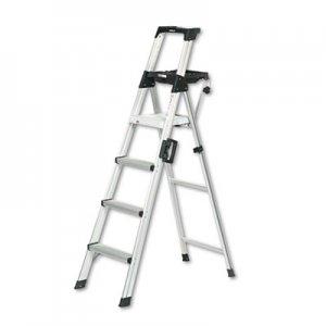 COSCO Signature Series Aluminum Step Ladder, 6 ft Working Height, 300 lbs Capacity, 4 Step, Aluminum CSC2061AABLD 2061AABLD