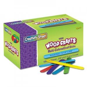 "Creativity Street Colored Wood Craft Sticks, 4.5"" x 0.38"", Wood, Assorted, 1,000/Box CKC377502 3775-02"