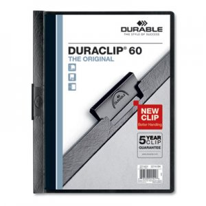 Durable Vinyl DuraClip Report Cover w/Clip, Letter, Holds 60 Pages, Clear/Black, 25/Box DBL221401 221401