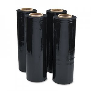"Genpak Black Stretch Film, 18"" x 1, 500ft Roll, 20mic (80-Gauge), 4/Carton UNV62120"
