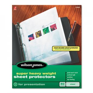 Wilson Jones Top-Loading Super Heavy Sheet Protectors, Letter, 50/Box WLJ21400 W21400