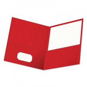 Genpak Two-Pocket Portfolio, Embossed Leather Grain Paper, Red, 25/Box UNV56611