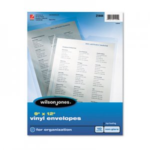 Wilson Jones Top-Loading Envelope Pouches, Nonglare Finish, 9 x 12, 10/Pack WLJ21444 W21444