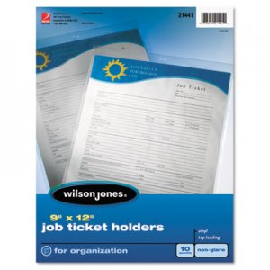 Wilson Jones Top-Loading Job Ticket Holder, Nonglare Finish, 9 x 12, Clear/Frosted, 10/Pack WLJ21441 21441