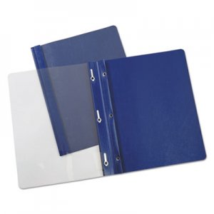 """Universal Plastic Cover, Tang Clip, Letter, 1/2"""" Capacity, Clear/Dark Blue, 25/Box UNV56138 UNV56138EE"""