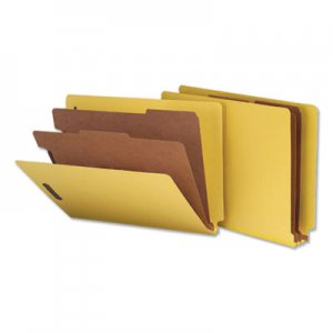 Genpak Deluxe Six-Section Colored Pressboard End Tab Classification Folders, 2 Dividers, Letter Size, Yellow, 10/Box UNV10319