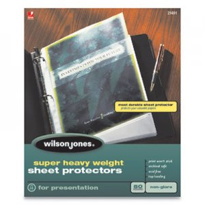 Wilson Jones Top-Loading Super Heavy Sheet Protectors, Nonglare Finish, Letter, 50/Box WLJ21401 W21401