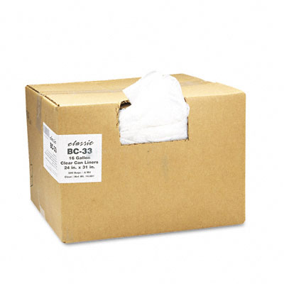 Classic Clear Clear Low-Density Can Liners, 16 gal, .6 mil, 24 x 31, Clear, 500/Carton BC-33 WBIBC33
