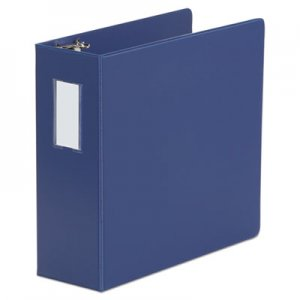 "Genpak Deluxe Non-View D-Ring Binder with Label Holder, 3 Rings, 4"" Capacity, 11 x 8.5, Royal Blue"