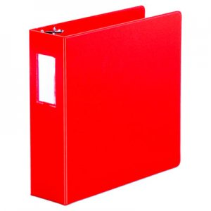"Genpak Economy Non-View Round Ring Binder With Label Holder, 3"" Capacity, Red UNV35413"