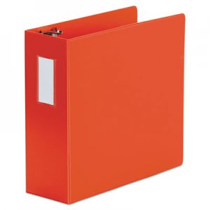 "Genpak Deluxe Non-View D-Ring Binder with Label Holder, 3 Rings, 4"" Capacity, 11 x 8.5, Red UNV20708"
