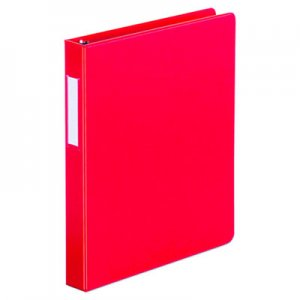 "Genpak Deluxe Non-View D-Ring Binder with Label Holder, 3 Rings, 1"" Capacity, 11 x 8.5, Red UNV20763"