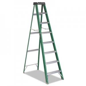 Louisville Fiberglass Step Ladder, 8 ft Working Height, 225 lbs Capacity, 7 Step, Green/Black DADFS4008 FS4008