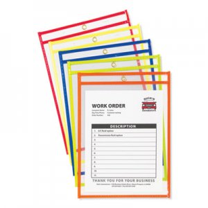 "C-Line Stitched Shop Ticket Holders, Neon, Assorted 5 Colors, 75"", 9 x 12, 10/Pack CLI43920 43920"