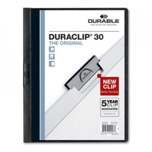 Durable Vinyl DuraClip Report Cover w/Clip, Letter, Holds 30 Pages, Clear/Black, 25/Box DBL220301 220301
