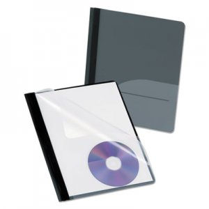 Oxford Clear Front Report Cover, CD Pocket, 3 Fasteners, Letter, Black, 25/Box OXF57727 57727
