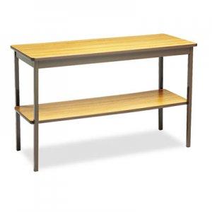 Barricks Utility Table with Bottom Shelf, Rectangular, 48w x 18d x 30h, Oak/Brown BRKUTS1848LQ UTS1848-LQ