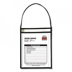 "C-Line Stitched Shop Ticket Holders with 75"" Strap, Clear/Black, 9 x 12, 15/BX CLI41922 41922"