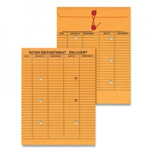 Genpak String & Button Interoffice Envelope, #97, Two-Sided Five-Column Format, 10 x 13, Light Brown Kraft, 100/Box UNV63568