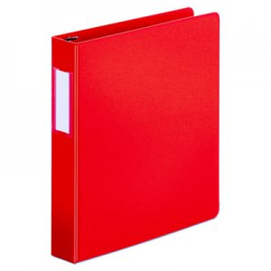"Genpak Deluxe Non-View D-Ring Binder with Label Holder, 3 Rings, 1.5"" Capacity, 11 x 8.5, Red"