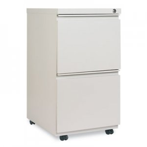 Alera Two-Drawer Metal Pedestal File with Full-Length Pull, 14.96w x 19.29d x 27.75h, Light Gray