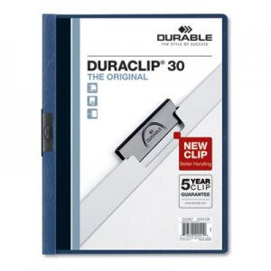 Durable Vinyl DuraClip Report Cover, Letter, Holds 30 Pages, Clear/Dark Blue, 25/Box DBL220307 220307