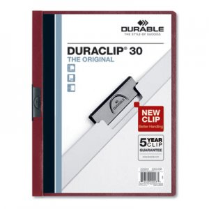 Durable Vinyl DuraClip Report Cover w/Clip, Letter, Holds 30 Pages, Clear/Maroon, 25/Box DBL220331 220331