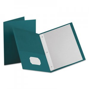 "Oxford Twin-Pocket Folders with 3 Fasteners, Letter, 1/2"" Capacity, Teal, 25/Box OXF57755 57755EE"