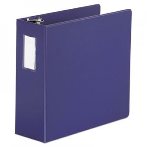 "Genpak Deluxe Non-View D-Ring Binder with Label Holder, 3 Rings, 4"" Capacity, 11 x 8.5, Navy Blue"