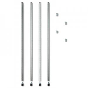 "Alera Stackable Posts For Wire Shelving, 36"" High, Silver, 4/Pack ALESW59PO36SR"