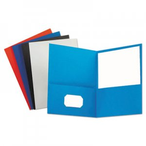 Genpak Two-Pocket Portfolio, Embossed Leather Grain Paper, Assorted Colors, 25/Box UNV56613