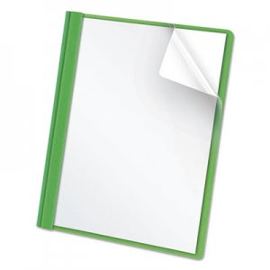 "Oxford Clear Front Report Cover, 3 Fasteners, Letter, 1/2"" Capacity, Green, 25/Box OXF55807 55807EE"