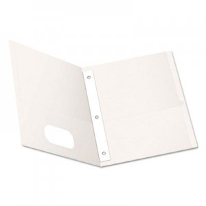 "Oxford Twin-Pocket Folders with 3 Fasteners, Letter, 1/2"" Capacity, White, 25/Box OXF57704 57704"