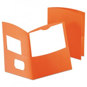 Oxford Contour Two-Pocket Recycled Paper Folder, 100-Sheet Capacity, Orange OXF5062580 5062580