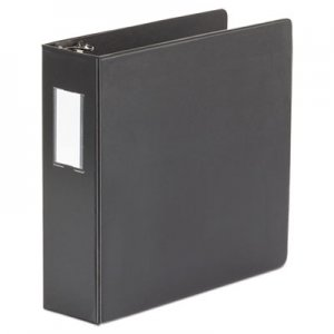 "Genpak Deluxe Non-View D-Ring Binder with Label Holder, 3 Rings, 3"" Capacity, 11 x 8.5, Black UNV20791"