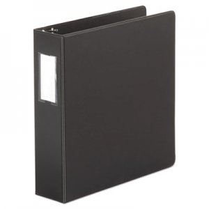 "Genpak Economy Non-View Round Ring Binder, 3 Rings, 2"" Capacity, 11 x 8.5, Black UNV34411"