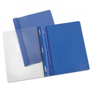 "Genpak Report Cover, Tang Clip, Letter, 1/2"" Capacity, Clear/Blue, 25/Box UNV56101 UNV56101EE"