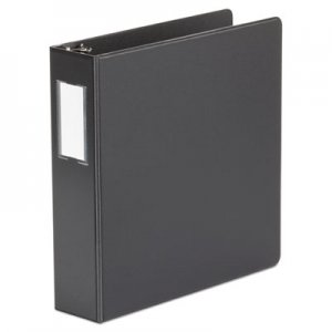 "Genpak Deluxe Non-View D-Ring Binder with Label Holder, 3 Rings, 2"" Capacity, 11 x 8.5, Black UNV20781"