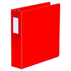 """Universal Deluxe Non-View D-Ring Binder with Label Holder, 3 Rings, 2"""" Capacity, 11 x 8.5, Red UNV20783"""