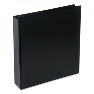 "Genpak Deluxe Round Ring View Binder, 2"" Capacity, Black UNV20731"