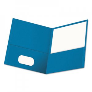 Genpak Two-Pocket Portfolio, Embossed Leather Grain Paper, Light Blue, 25/Box UNV56601 UNV56601EE