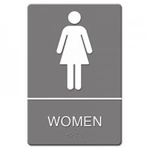 Headline Sign ADA Sign, Women Restroom Symbol w/Tactile Graphic, Molded Plastic, 6 x 9, Gray USS4816 4816