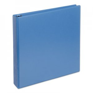 "Genpak Deluxe Round Ring View Binder, 3 Rings, 1.5"" Capacity, 11 x 8.5, Light Blue UNV20723"