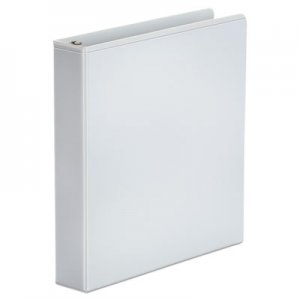 "Genpak Economy Round Ring View Binder, 3 Rings, 1.5"" Capacity, 11 x 8.5, White UNV20972"