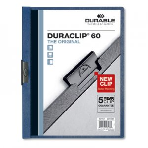Durable Vinyl DuraClip Report Cover, Letter, Holds 60 Pages, Clear/Dark Blue, 25/Box DBL221407 221407