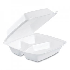 Dart Foam Container, Hinged Lid, 3-Comp, 8 3/8 x 7 7/8 x 3 1/4, 200/Carton