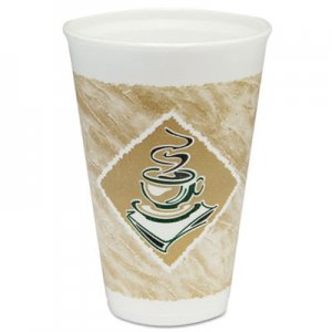 Dart Cafe G Foam Hot/Cold Cups, 16oz, White w/Brown & Green, 1000/Carton DCC16X16G 16X16G