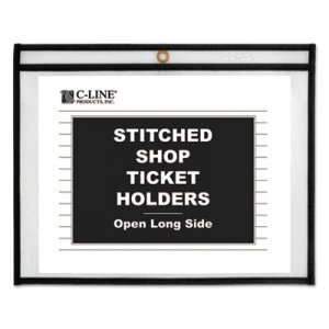 C-Line Shop Ticket Holders, Stitched, Sides Clear, 50 Sheets, 11 x 8 1/2, 25/Box CLI49911 49911