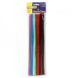 "Creativity Street Regular Stems, 12"" x 0.16"", Metal Wire, Polyester, Assorted, 100/Pack CKC711201 7112-01"